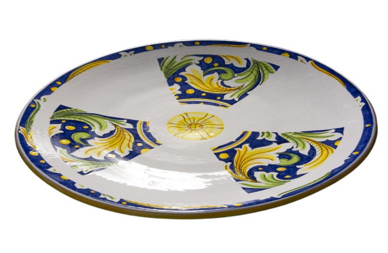 Ceramic Plate Hand Painted Glazed Earthenware Italian Contemporary For Sale 1