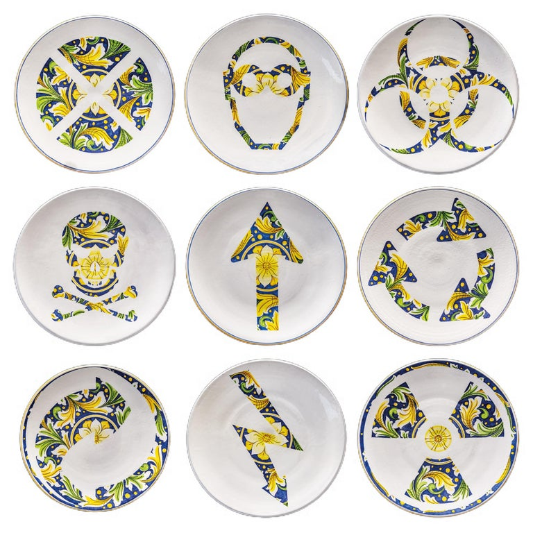 Ceramic Plate Hand Painted Glazed Earthenware Italian Contemporary For Sale 2