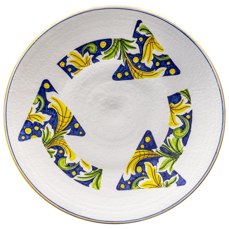 Ceramic Plate Hand Painted Glazed Earthenware Italian Contemporary For Sale