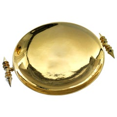 """Ceramic Plate """"PANSY"""", Handcrafted in White and 24-Karat Gold by Gabriella B."""