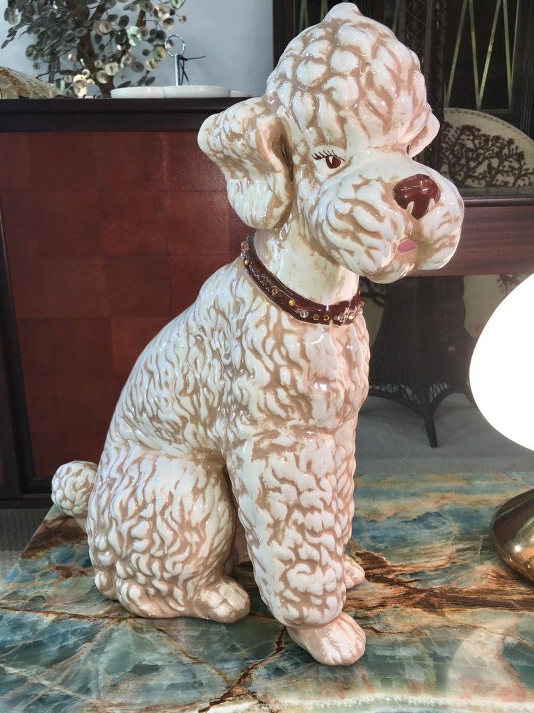 Large Mid-Century Black Ceramic Poodle