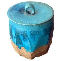 Ceramic Pot with Lid Japanese Mizusashi by Makoto Yabe