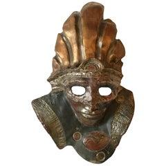 Ceramic Raku Mask of a Warrior in a Headdress by Hal Wahlborg