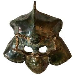 Ceramic Raku Mask of a Warrior in Helmet by Hal Wahlborg