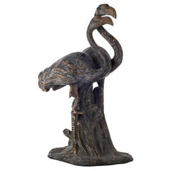 Ceramic Flamingo Couple Sculpture, Contemporary