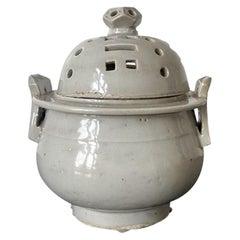 Ceramic Ritual Incense Burner with Bagua Pattern Korean Joseon Dynasty
