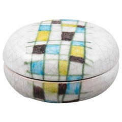 Ceramic Round Lided Box by Guido Gambone Abstract Hand Painted Decor