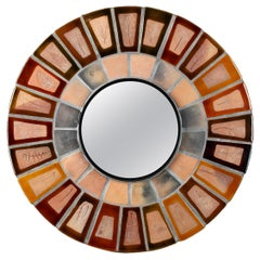 Ceramic Round Mirror by Roger Capron, Vallauris