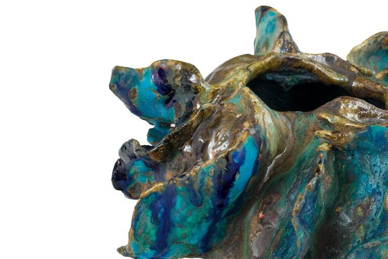 Glazed Ceramic Sculptural Vase by Henrik Folsgaard, Denmark, 2020 For Sale