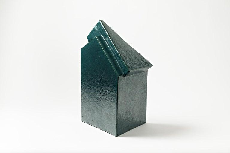 A ceramic sculpture by Daniel Maes with green glaze decoration. Perfect conditions. Unique piece, circa 1990.