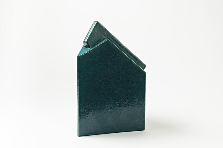 Beaux Arts Ceramic Sculpture by Daniel Maes with Green Glaze Decoration, circa 1990 For Sale