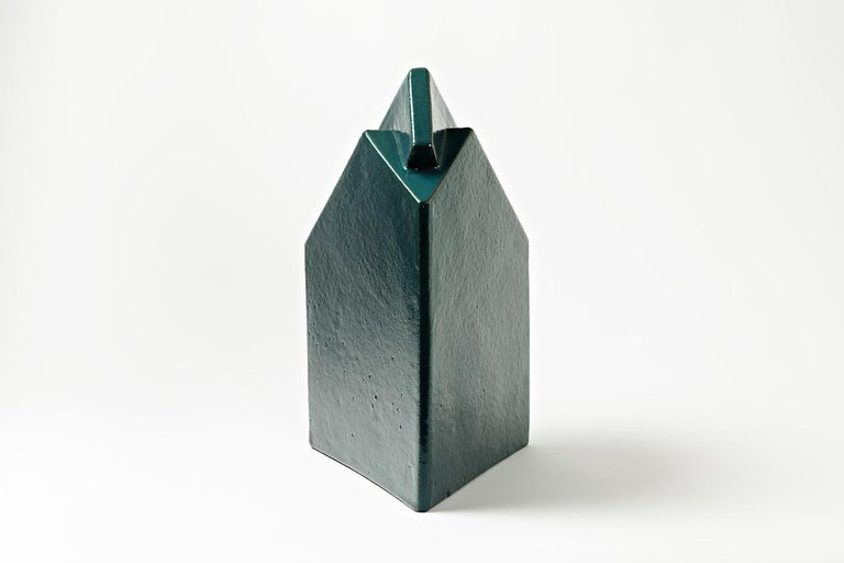 French Ceramic Sculpture by Daniel Maes with Green Glaze Decoration, circa 1990 For Sale