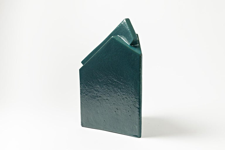 20th Century Ceramic Sculpture by Daniel Maes with Green Glaze Decoration, circa 1990 For Sale
