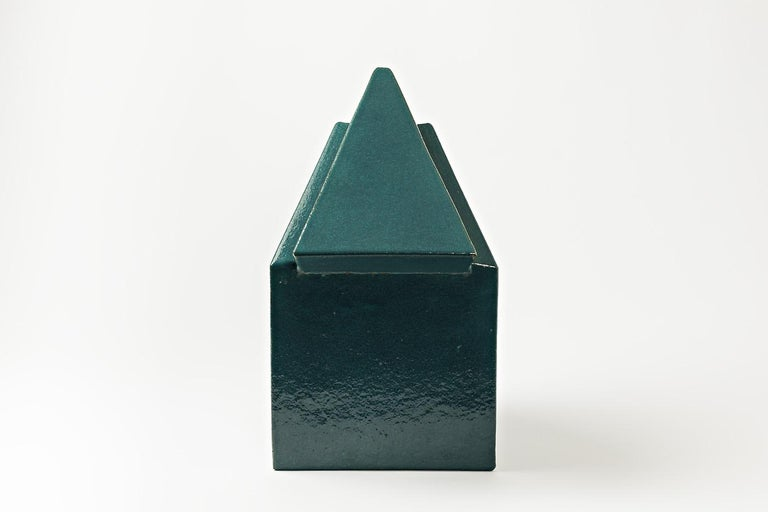 Ceramic Sculpture by Daniel Maes with Green Glaze Decoration, circa 1990 For Sale 3