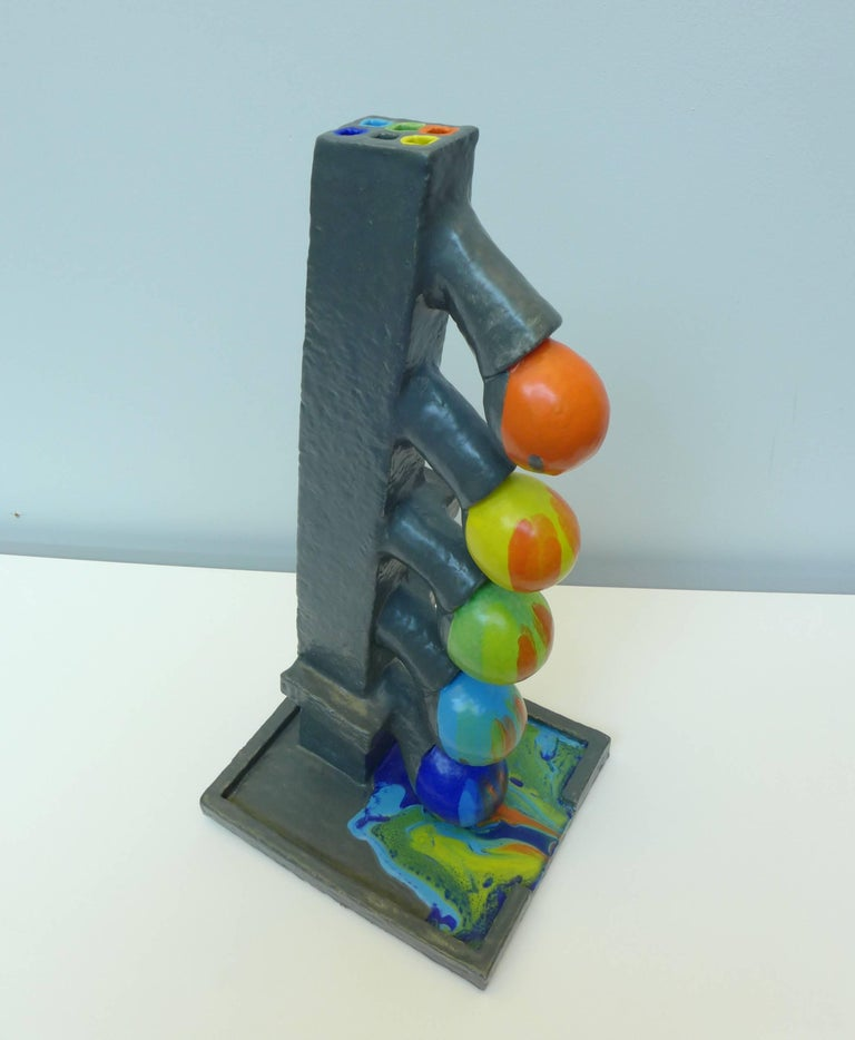 Hand-Crafted Ceramic Color Flow Sculpture by Mark Hosking For Sale