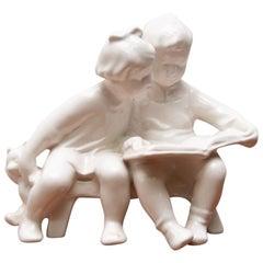 Ceramic Sculpture Children with a Book, 1950´s, Czechoslovakia