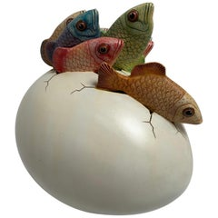 Ceramic Sculpture, Egg Art Hatching Fish Signed by Artist Sergio Bustamante