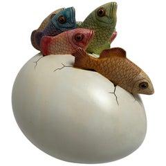 Ceramic Sculpture, Egg Art Hatching Fish Signed by Artist Sergio Bustamante