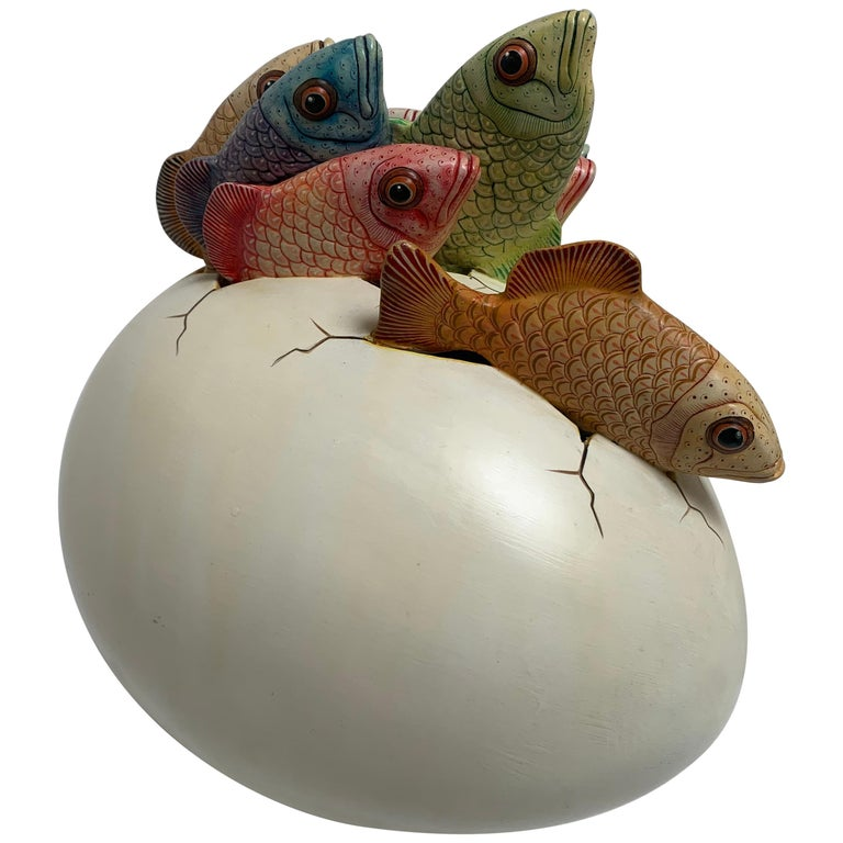 Ceramic Sculpture, Egg Art Hatching Fish Signed by Artist Sergio Bustamante For Sale