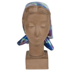 Ceramic Sculpture of a Woman Wearing Colored Scarf by Johannes Hedegaard