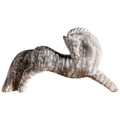 Ceramic Sculpture of a Zebra, France, Midcentury