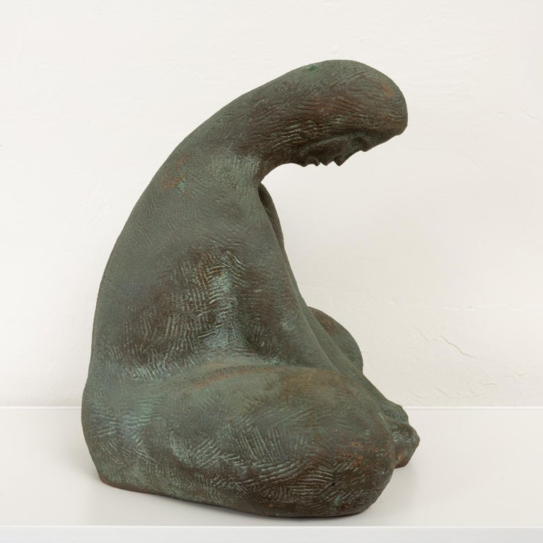 Ceramic Sculpture of Sitting Woman In Excellent Condition For Sale In Los Angeles, CA