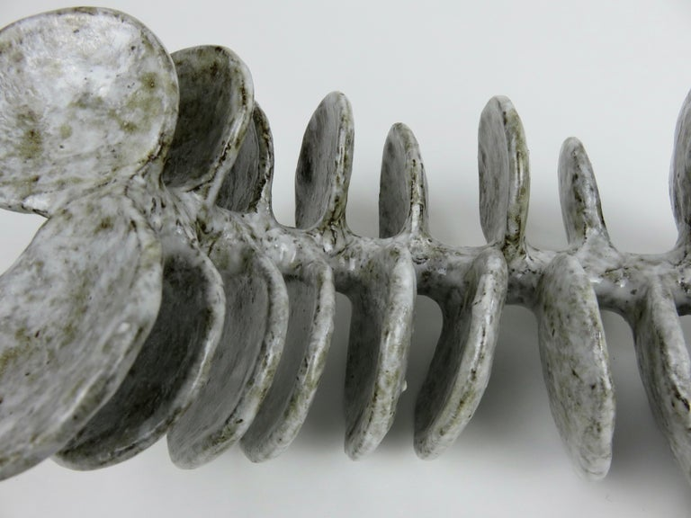 Ceramic Sculpture, Reclining Skeletal Spine in Mottled White and Brown For Sale 5