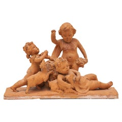Ceramic Sculpture with a Group of Playing Putti's 19th Century Belgium