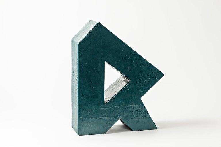 A ceramic sculpture with green glaze decoration by Daniel Maes. Unique piece. Perfect original conditions, circa 1990.