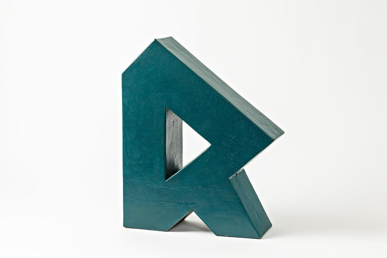 20th Century Ceramic Sculpture with Green Glaze Decoration by Daniel Maes, circa 1990 For Sale