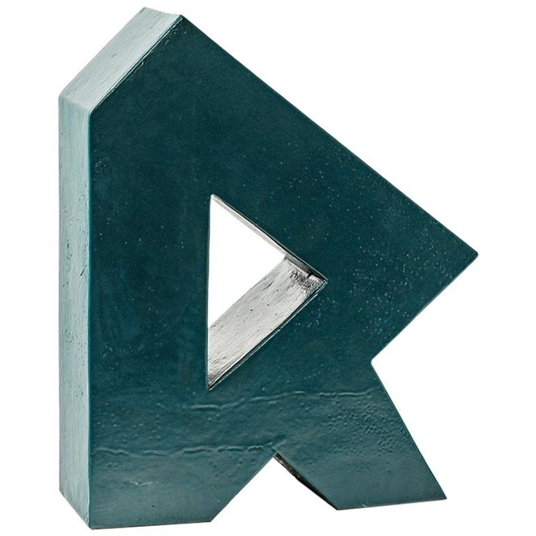 Ceramic Sculpture with Green Glaze Decoration by Daniel Maes, circa 1990 For Sale