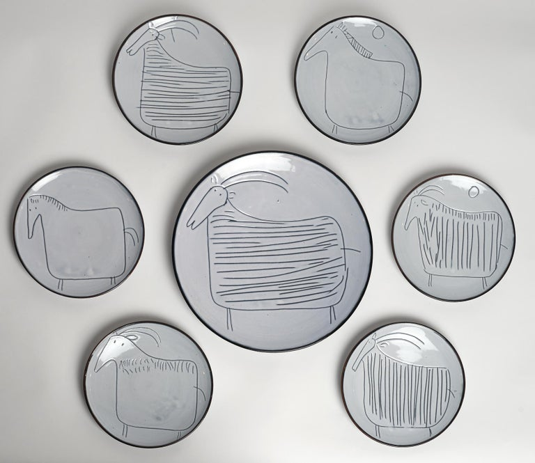 Mid-20th Century Ceramic Set of 7 Plates Signed by Jacques Innocenti, Vallauris, 1957 For Sale