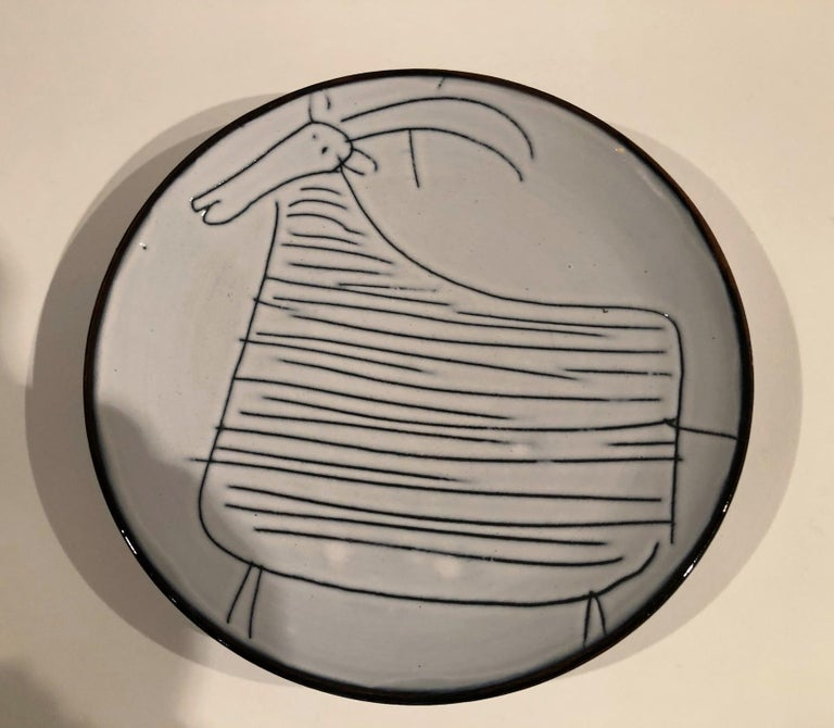 Ceramic Set of 7 Plates Signed by Jacques Innocenti, Vallauris, 1957 For Sale 4