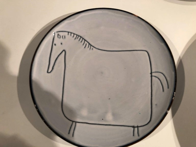 Ceramic Set of 7 Plates Signed by Jacques Innocenti, Vallauris, 1957 For Sale 5