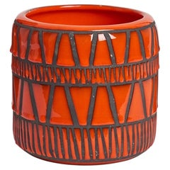 Ceramic Shiny Red Enamel Vase Signed by Roger Capron, Vallauris, 1950s