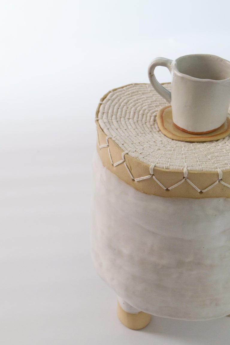 Contemporary Ceramic Short Pedestal with Woven Cotton Top in White For Sale