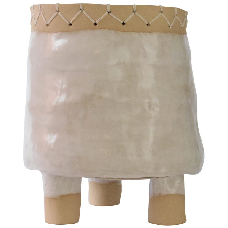 Ceramic Short Pedestal with Woven Cotton Top in White For Sale