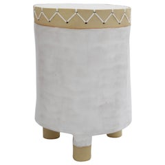 Ceramic Short Pedestal with Woven Cotton Top in White