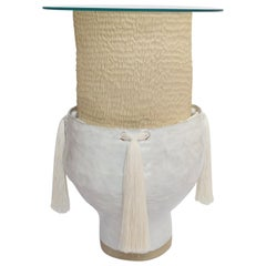 Ceramic Side Table with Cotton Braided Accents and Carved Details White/Natural