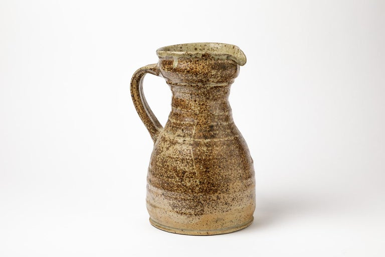 Mid-Century Modern Ceramic Stoneware Pitcher by Pierre Digan, 1970 Realised in La Borne For Sale