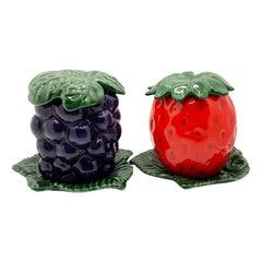 Ceramic Strawberry and Grape Jam Jars
