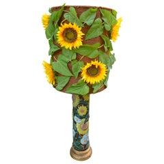 Ceramic Sunflower Table or Floor Lamp from France, circa 1970