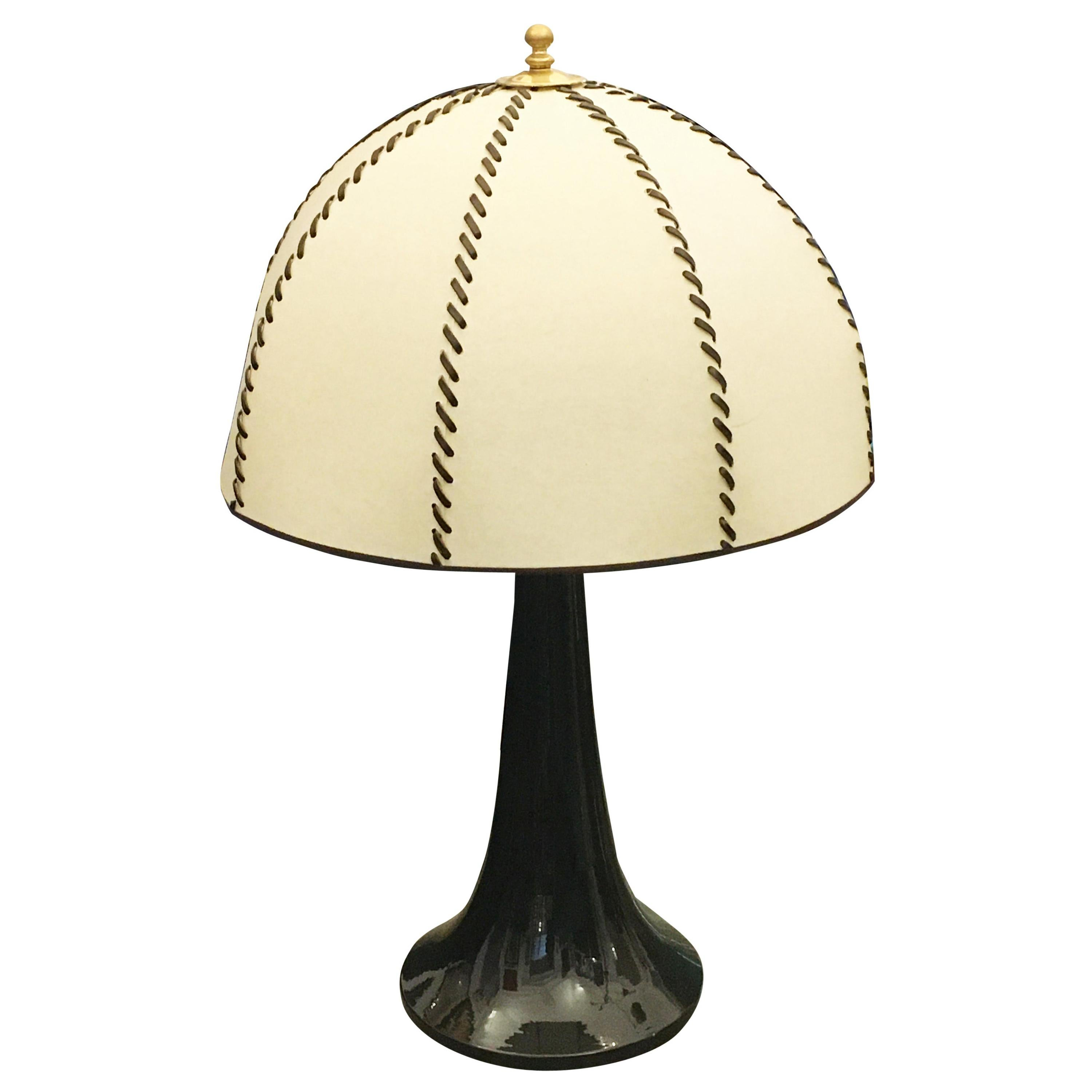 Ceramic Table Lamp and Parchment Lampshade from 1970