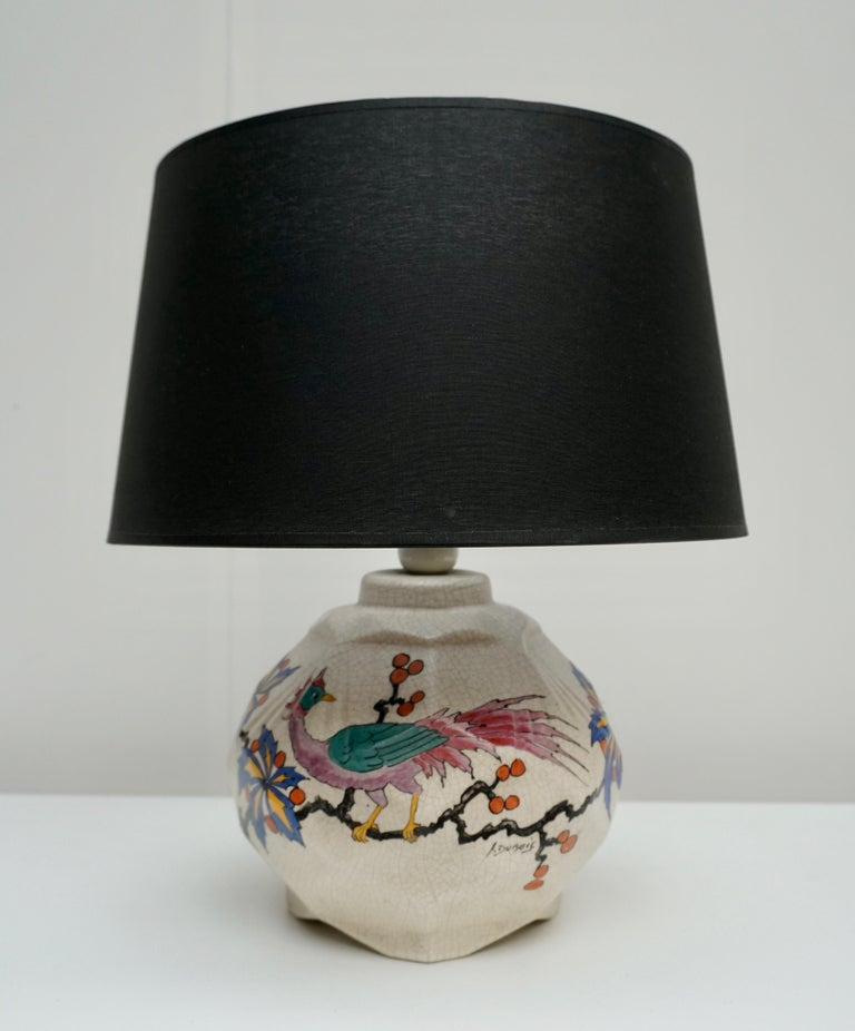 Belgium Art Deco vase table lamp made by Antoine Dubois in Bergen during the 1930. Perfect condition It's signed A Dubois. 