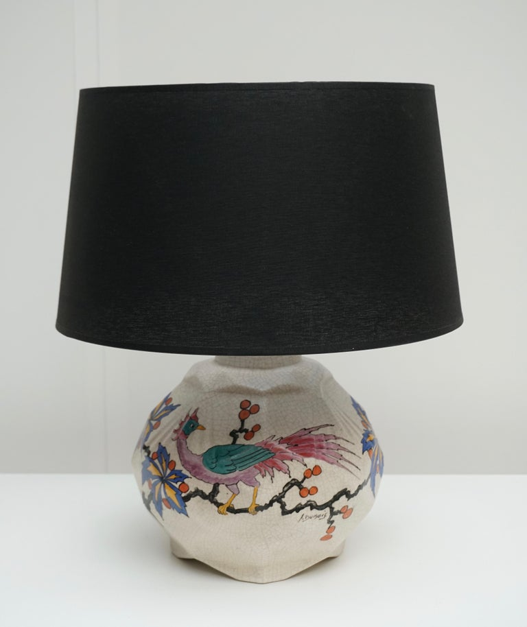 Belgian Ceramic Table Lamp by A Dubois, Belgium Midcentury For Sale