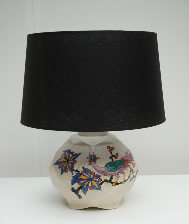 Ceramic Table Lamp by A Dubois, Belgium Midcentury In Good Condition For Sale In Antwerp, BE
