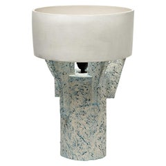 Ceramic Table Lamp by Denis Castaing with White Glaze Decoration, 2019