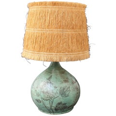 Ceramic Table Lamp by Jacques Blin with Raffia Lampshade, circa 1950s Green