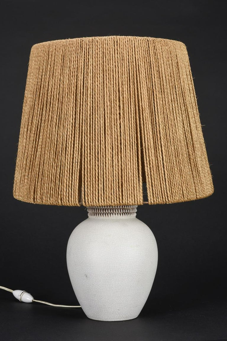 Mid-Century Modern Ceramic Table Lamp by Pol Chambost, France, 1940s For Sale
