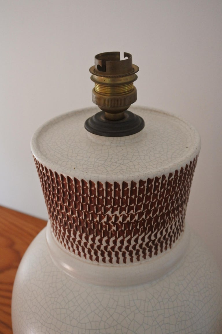 Neoclassical Revival Ceramic Table Lamp by Pol Chambost, France 1940s For Sale